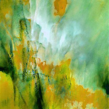 Composition abstraite : le jaune rencontre le vert sur Annette Schmucker