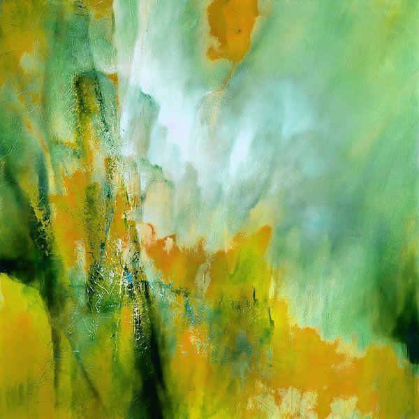Abstracte compositie: Geel ontmoet groen van Annette Schmucker