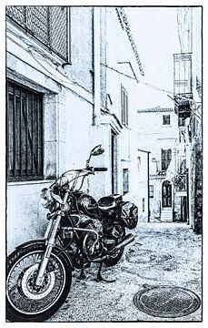 Eine Gasse und ein Motorrad von Dick Jeukens
