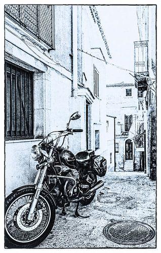 Een steegje en een motor