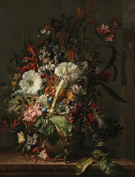 Stilleven van exotische bloemen op een marmeren rand, Rachel Ruysch van Meesterlijcke Meesters