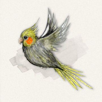 Vliegende valkparkiet aquarel van Bianca Wisseloo