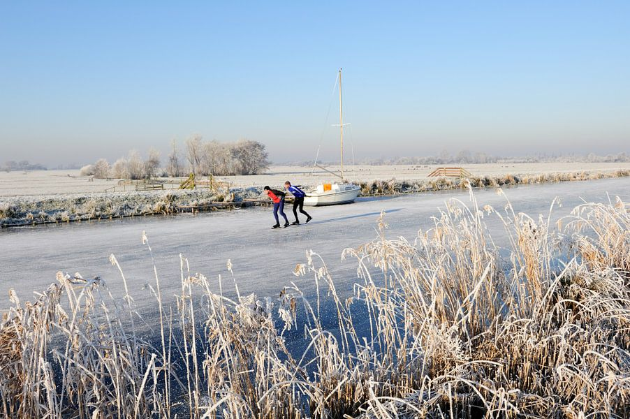 Nederlands winterlandschap met zeilbootje en twee schaatsers
