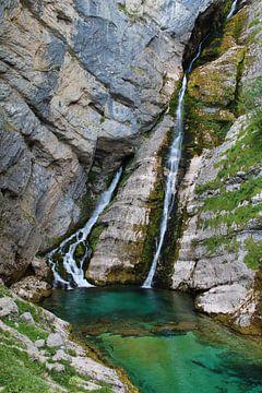 Savica waterval Slovenië van Laura van Drogen