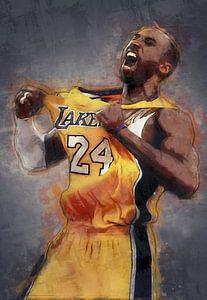 Kobe Bryant Ölfarbe Porträt