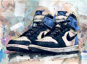 Nike air Jordan 1 Obsidian Blue schilderij van Jos Hoppenbrouwers