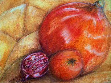 Granatapfel und Kürbisse. von Ineke de Rijk