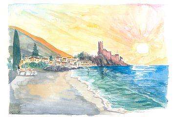 Détente sur la plage de Malcesine sur le lac de Garde au coucher du soleil sur Markus Bleichner