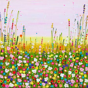 Schilderij bloemenveld / bloemen pastel kleurrijk van Bianca ter Riet
