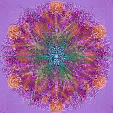 Kaleidoscoop, paars en oranje van Rietje Bulthuis