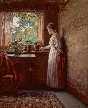 T C. Steele (Amerikaner, 1847-1926)-Das Mädchen am Fenster