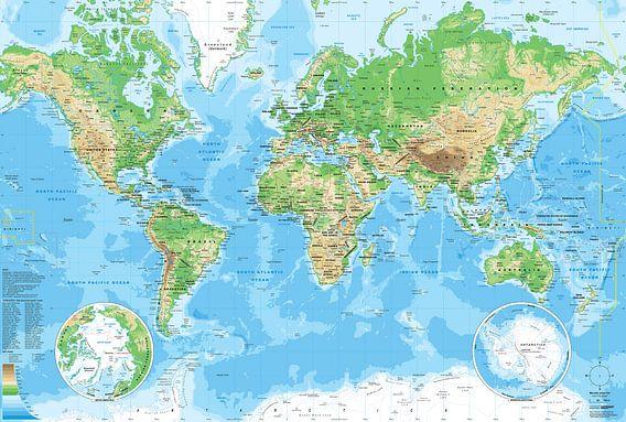 Wereldkaart, zoals je hem op school had van MAPOM Geoatlas