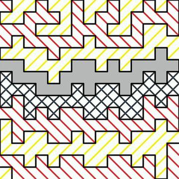 Abstract lijnenspel in rood geel grijs van Maurice Dawson