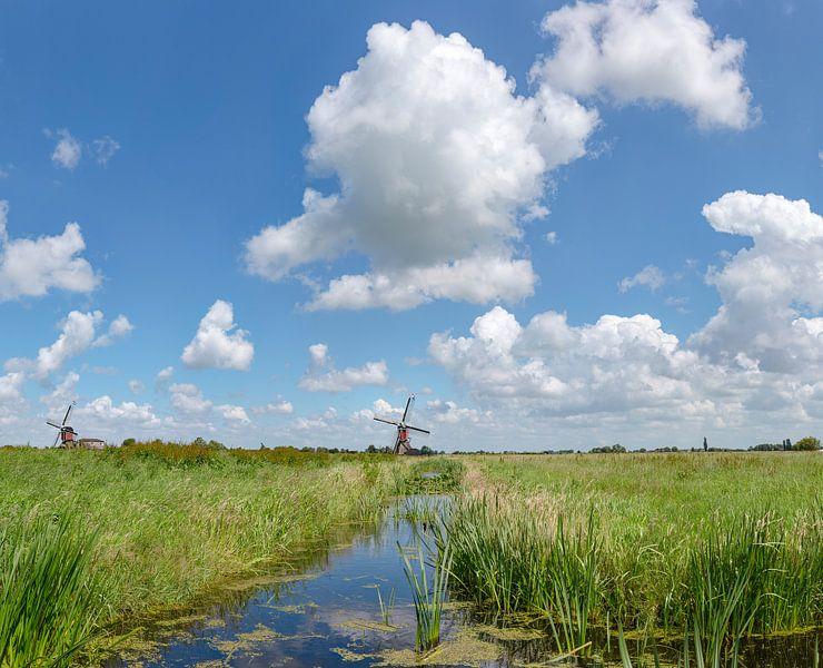 Sloot met de twee wipmolens, Hoogmade,  Zuid-Holland van Rene van der Meer