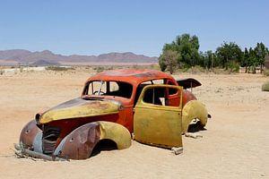 Vergane glorie autowrak in woestijn, Namibië