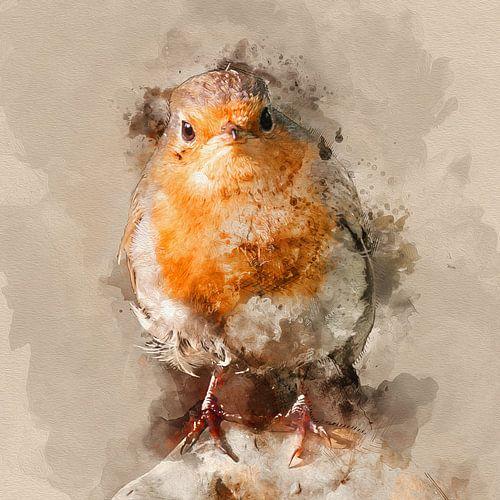 Portret van een pasgeboren roodborstje van Art by Jeronimo