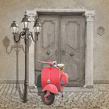 Vintage scooter in Roze / Pink van Monika Jüngling