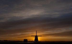 Molen Het Noorden Texel zonsondergang