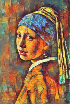 Kleurrijk Meisje met de Parel van Johannes Vermeer van Slimme Kunst.nl