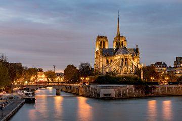Notre Dame bij het vallen van de avond van