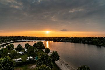 Camping Terspegelt (Eersel) luchtfoto met zonsondergang