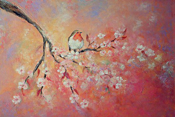 Frühlingsblüte mit Rotkelchen (Gemälde auf Leinwand)