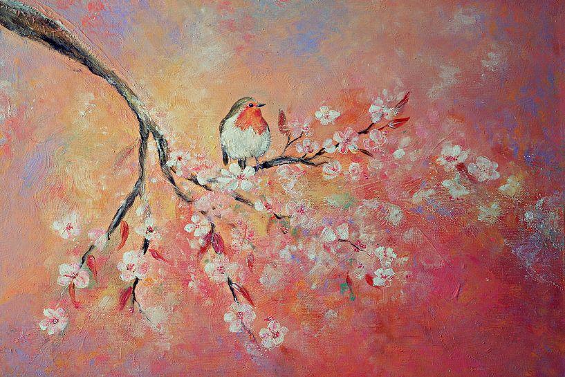 Frühlingsblüte mit Rotkelchen (Gemälde auf Leinwand) von Els Fonteine