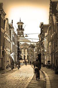 Federzeichnung Dordrecht Rathaus Sepia Zeichnung Linie