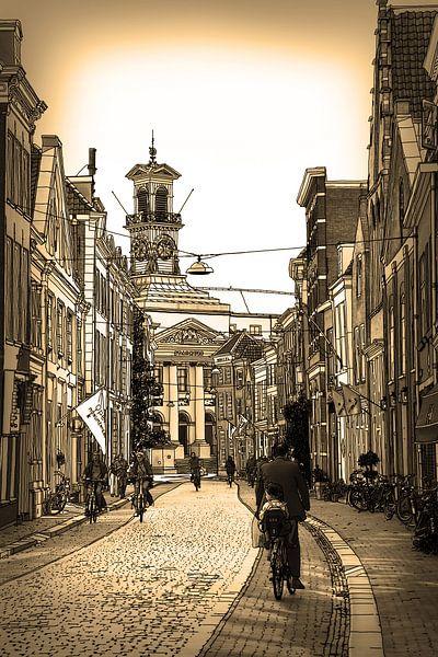Federzeichnung Dordrecht Rathaus Sepia Zeichnung Linie von Hendrik-Jan Kornelis