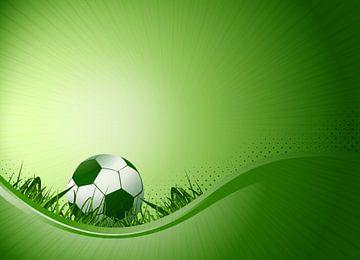 Fussball auf geneigtem Spielfeld von Henny Hagenaars
