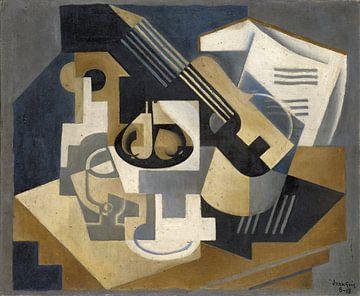 Gitarre und Obstschale auf einem Tisch, Juan Gris