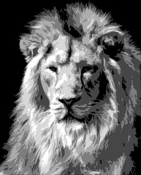 Leeuw in zwart-wit van Emajeur Fotografie