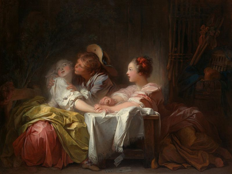 Jean-Honoré Fragonard. The Stolen Kiss van 1000 Schilderijen