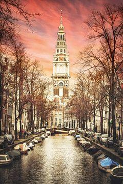 Schilderachtige weergave van de Zuiderkerk, Amsterdam van Heleen van de Ven