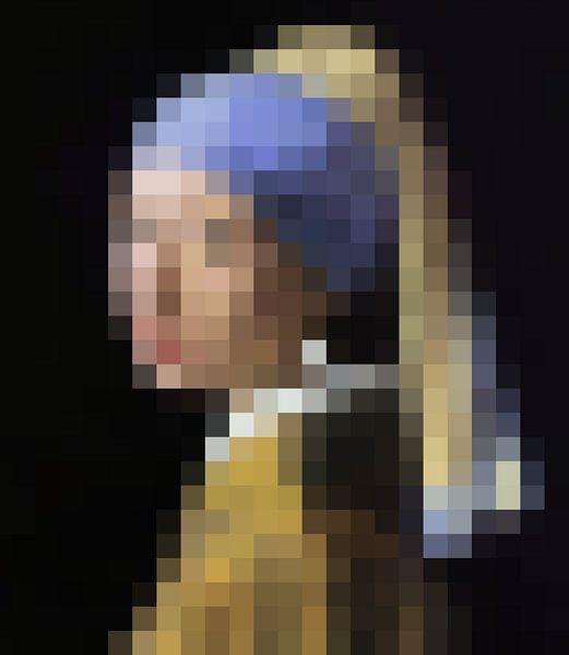Pixel Art: Het meisje met de parel  van J. C. Delanaye