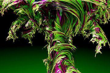 Tornado groen paars Abstract van Andree Jakobson