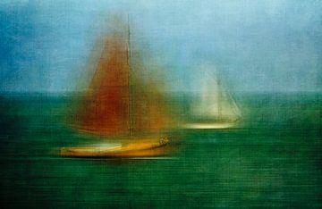 Bateaux à voile sur la mer des Wadden sur