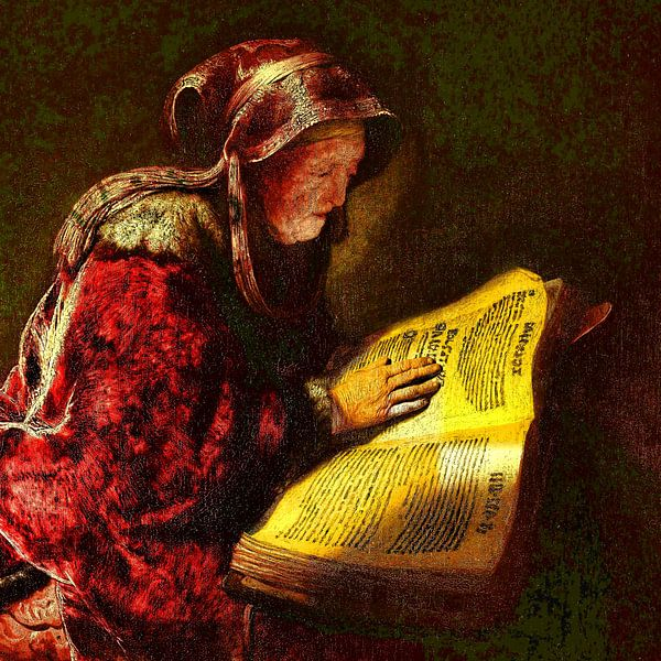 Oude Lezende Vrouw van Theo van der Genugten