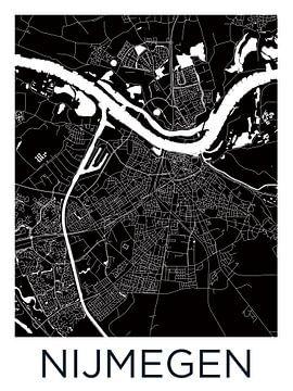 Nijmegen | Stadtplan Schwarz-Weiß von Wereldkaarten.Shop