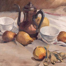 Stilleven met fruit, theepot en kopjes. van Galerie Ringoot