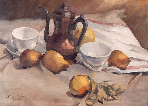Stilleven met fruit, theepot en kopjes.