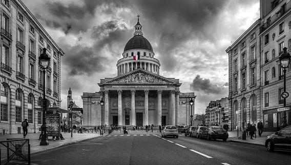 Zwart wit foto van het Panthéon in Parijs