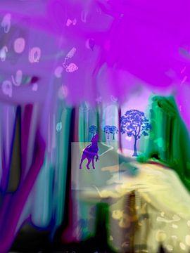 Hond in bos van Raina Versluis