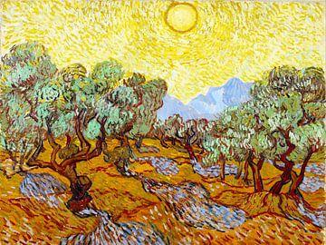 Olijfbomen met gele zon - Vincent van Gogh - 1889 van Jan Willem van Doesburg