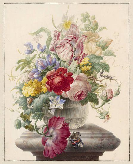 Herman Henstenburgh, Bloemen in een glazen vaas met een vlinder van Meesterlijcke Meesters