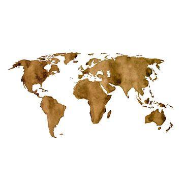 Weltkarte von Espresso-Kaffee | Wandkreis von Wereldkaarten.Shop