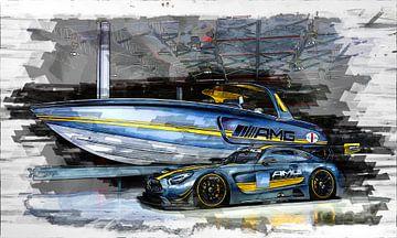 Mercedes AMG Schnellboot- und Sportwagen-Aquarellfarbe von Bert Hooijer