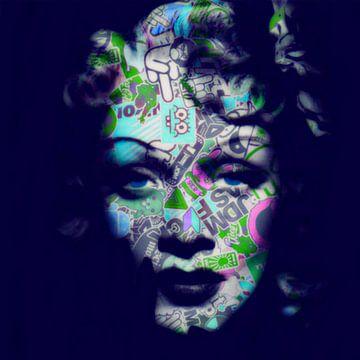 Motiv Marlene Dietrich - Ozeanien Blue - Dadaismus Nonsens von Felix von Altersheim