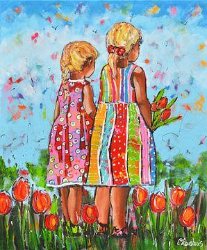 Vrolijk- Meisjes in een tulpen tuin van Vrolijk Schilderij