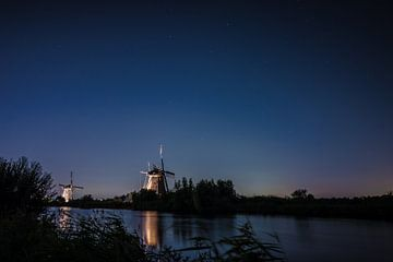 Windmühlen Kinderdijk bei Abendlicht von Alvin Aarnoutse